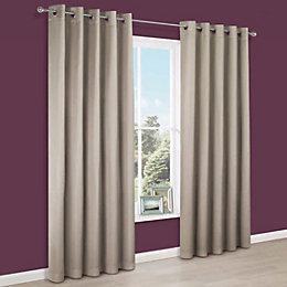 Endora Gold Plain Satin Eyelet Lined Curtains (W)117cm