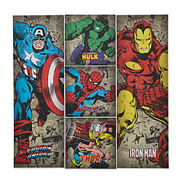 Dc Comics Retro Multicolour Canvas Pack of 5