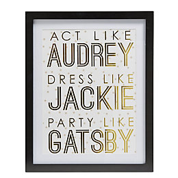 Act Like Audrey Gold & White Framed Print