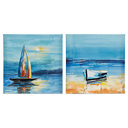 Boat Blue Hand Painted Canvas (W)450mm (H)450mm Set
