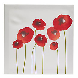 Poppies Red Canvas (W)40cm (H)40cm