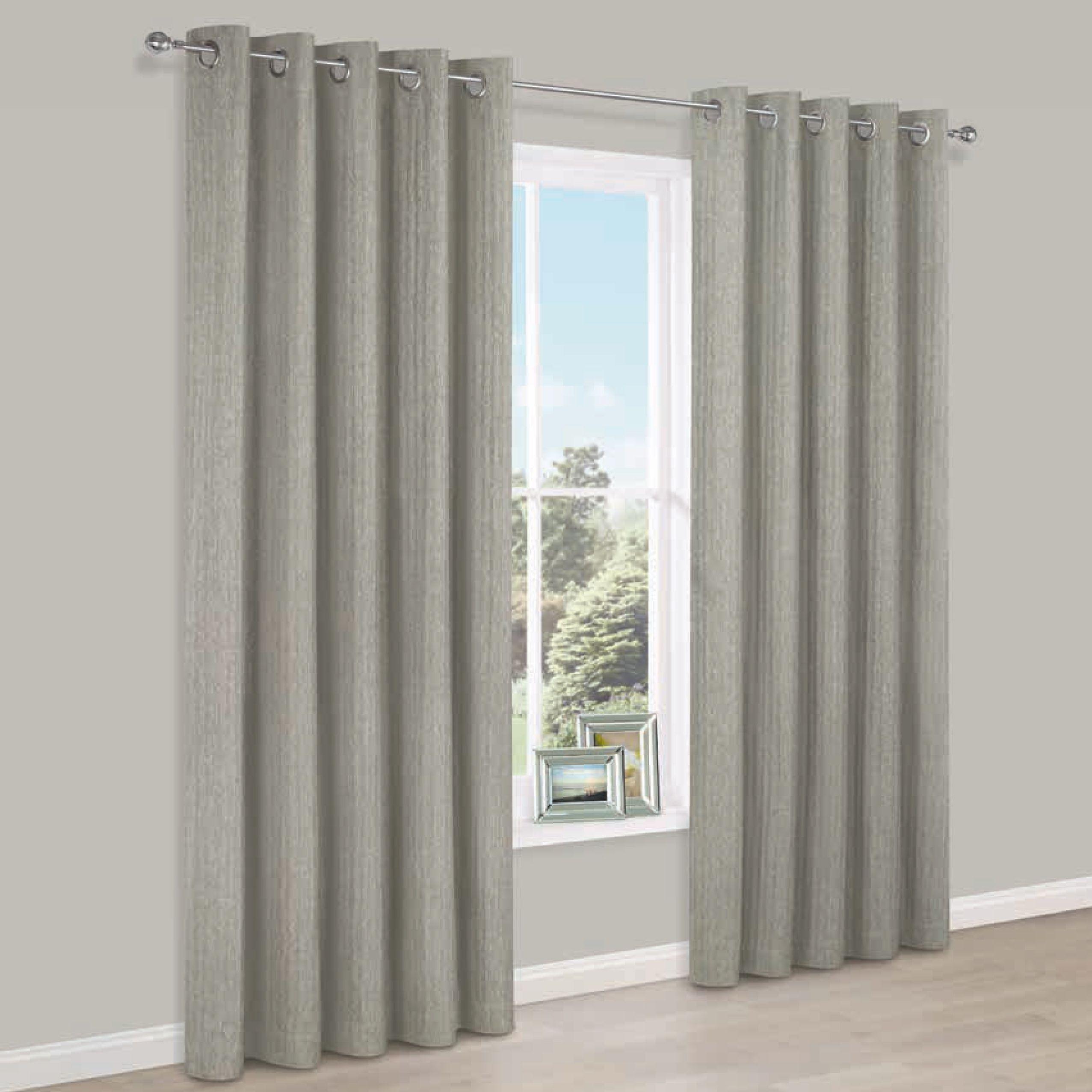 Joanna Beige Herringbone Woven Fabric Eyelet Lined Curtains (w)117 Cm (l)117 Cm