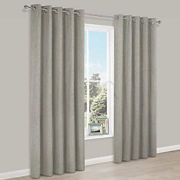 Joanna Beige Herringbone Woven Fabric Eyelet Lined Curtains