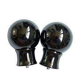 Black Nickel Effect Metal Ball Curtain Finial (Dia)28mm,