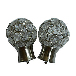 Stainless Steel Effect Metal Jewelled Ball Curtain Finial