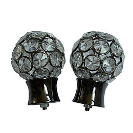 Black Nickel Effect Metal Jewelled Ball Curtain Finial