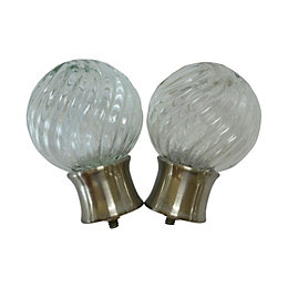 Stainless Steel Effect Glass Ball Curtain Finial (Dia)28mm,