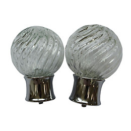Colours Whirley Chrome Effect Ball Finial (L)95mm (Dia)28mm,