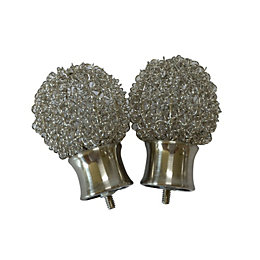 Pallas Stainless Steel Effect Metal Curtain Finial (Dia)28mm,
