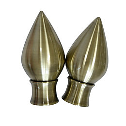 Antique Brass Effect Metal Teardrop Curtain Finial (Dia)35mm,