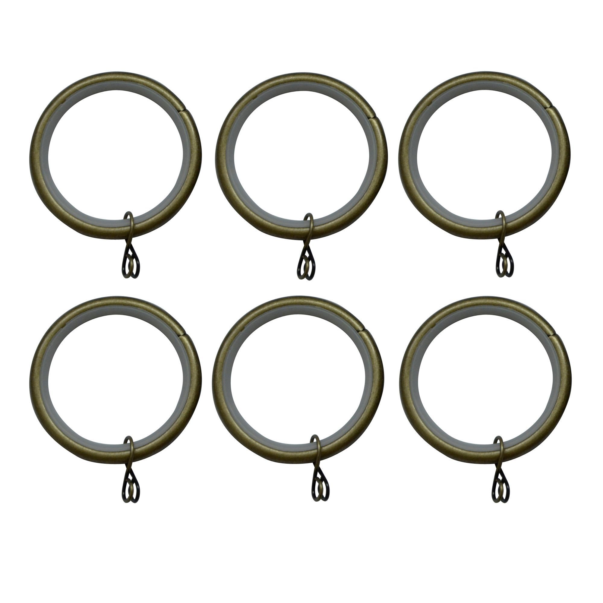 Antique Brass Effect Metal Round Curtain Ring Dia 35mm Pack Of 6 Departments Diy At B Q