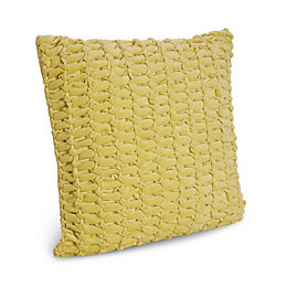Leola Woven Lemon Yellow Cushion