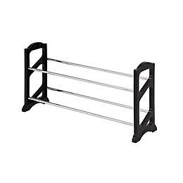 Black & Silver Stackable Shoe Rack (W)710mm