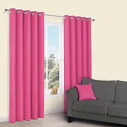 Zen Bonbon Plain Eyelet Curtains (W)117cm (L)137cm