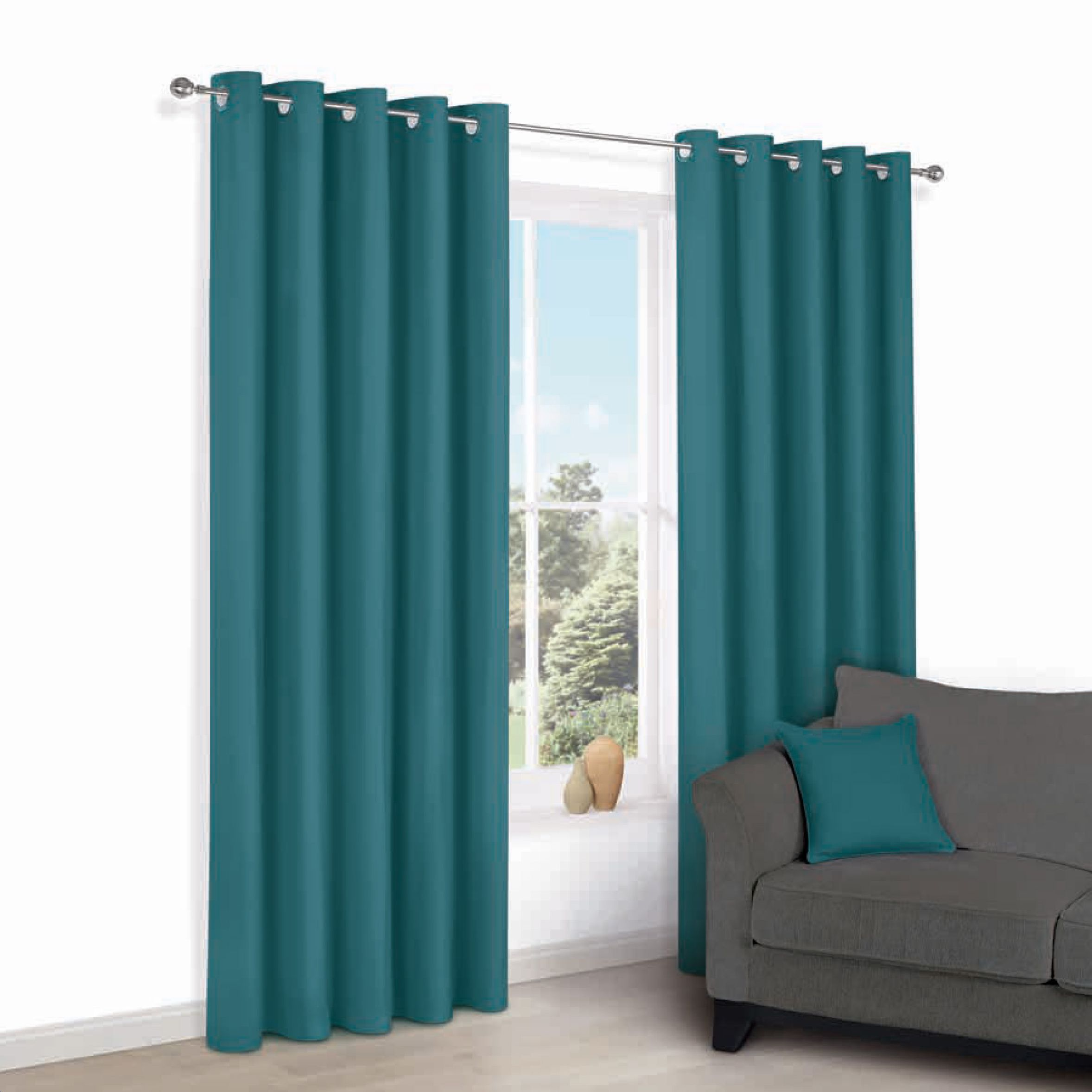 Zen Peacock Plain Eyelet Curtains (w)117cm (l)137cm
