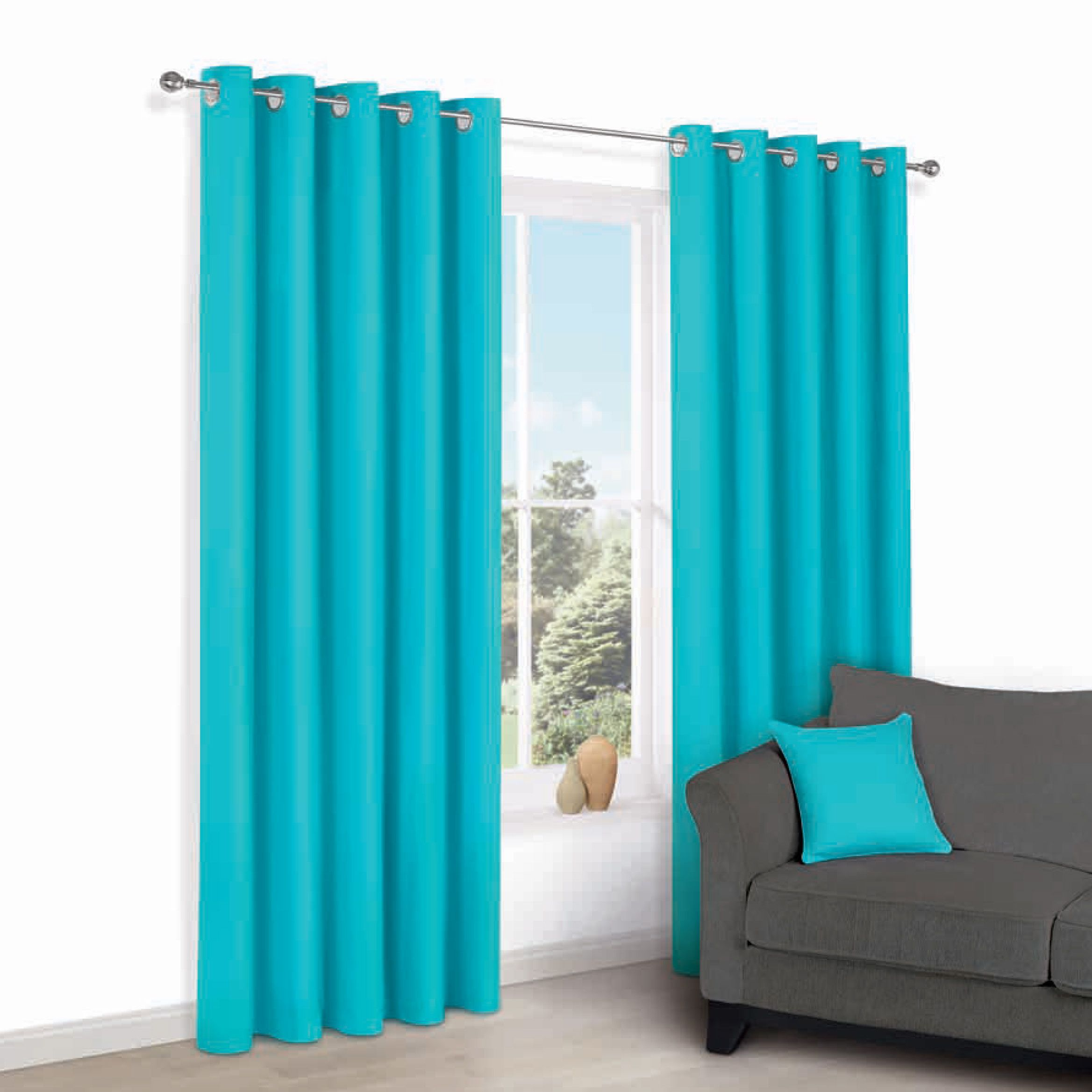 Zen Teal Plain Eyelet Curtains (w)167cm (l)183cm