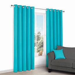 Zen Teal Plain Eyelet Curtains (W)167cm (L)183cm