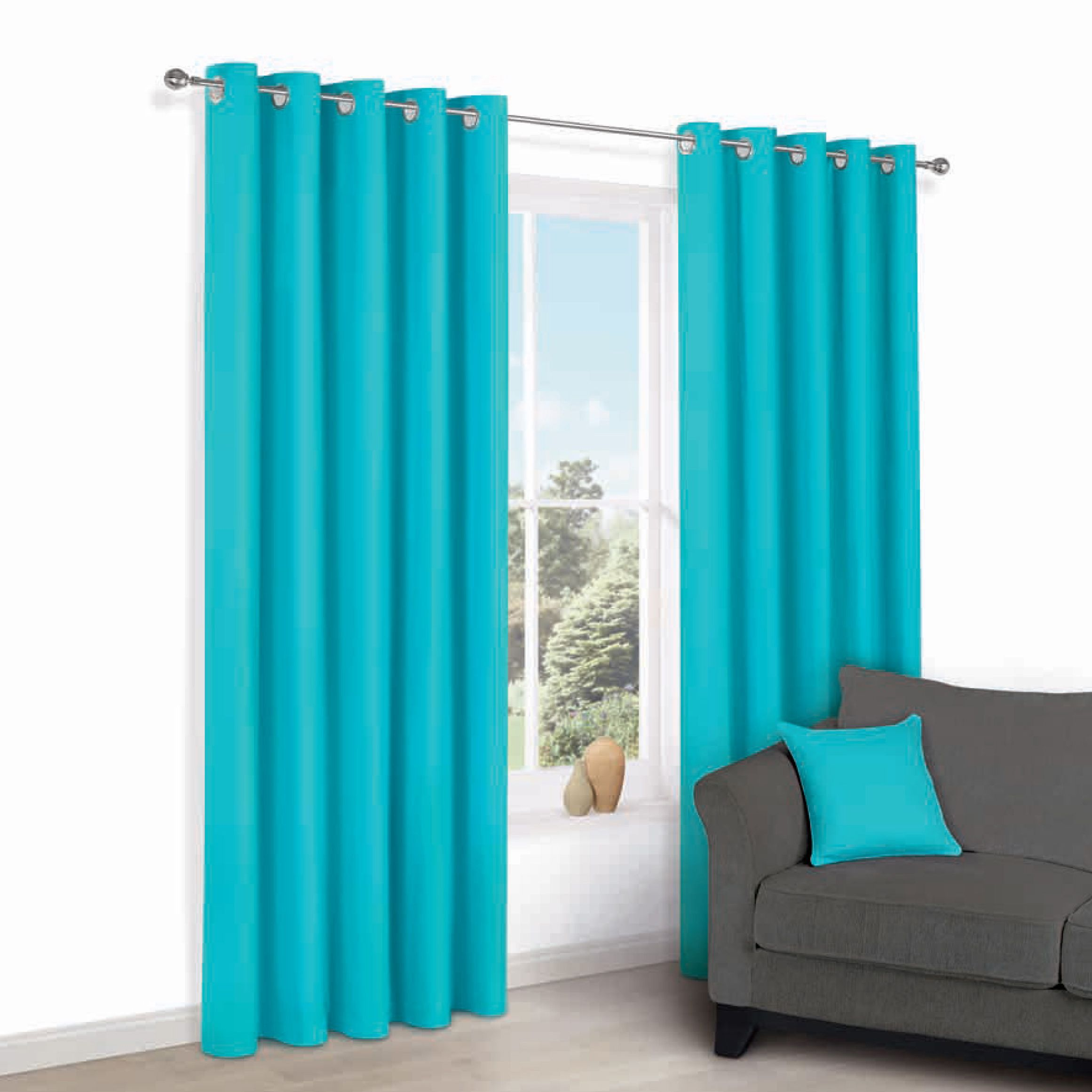 Zen Teal Plain Eyelet Curtains (w)167cm (l)228cm