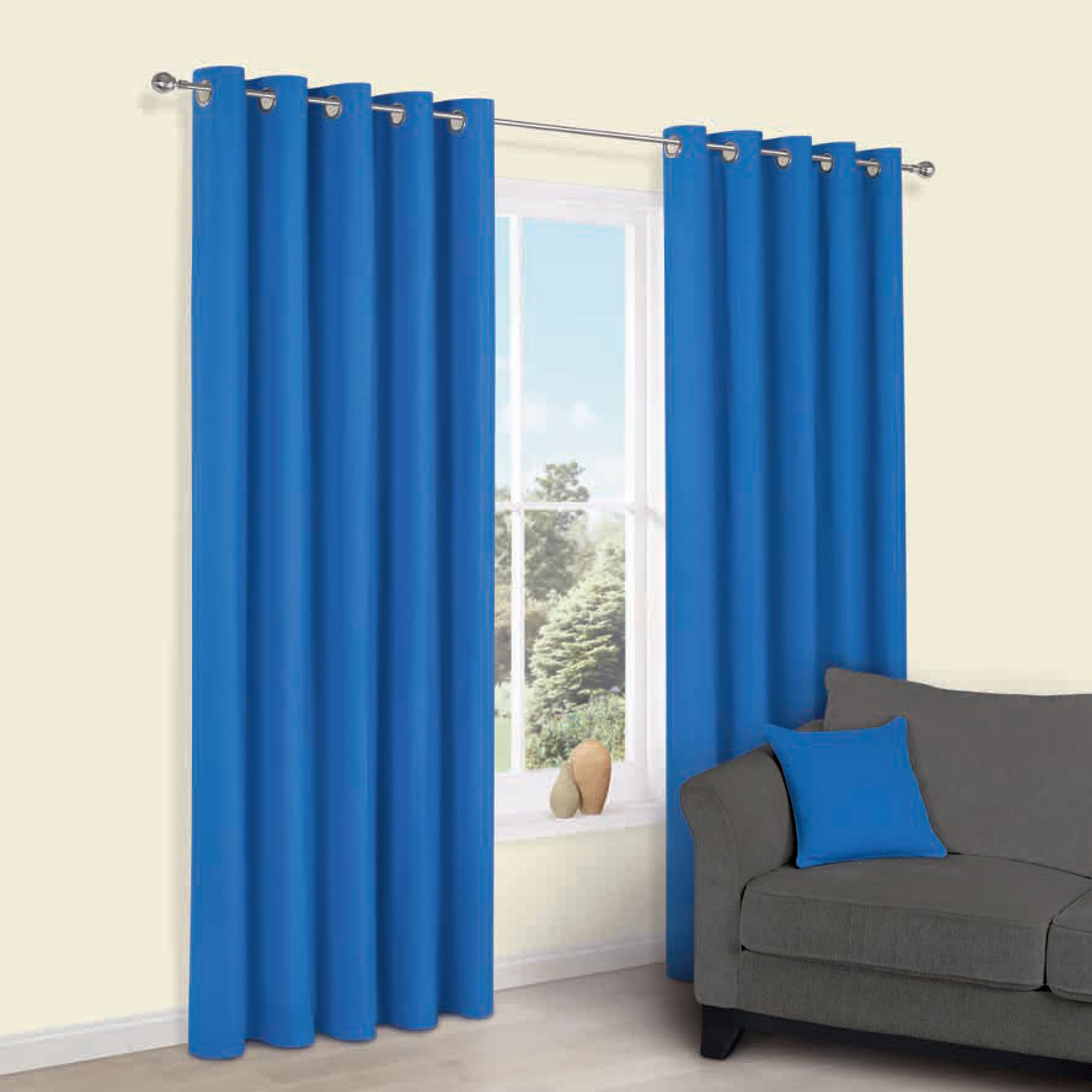 Zen Blue Plain Eyelet Curtains (w)167cm (l)228cm