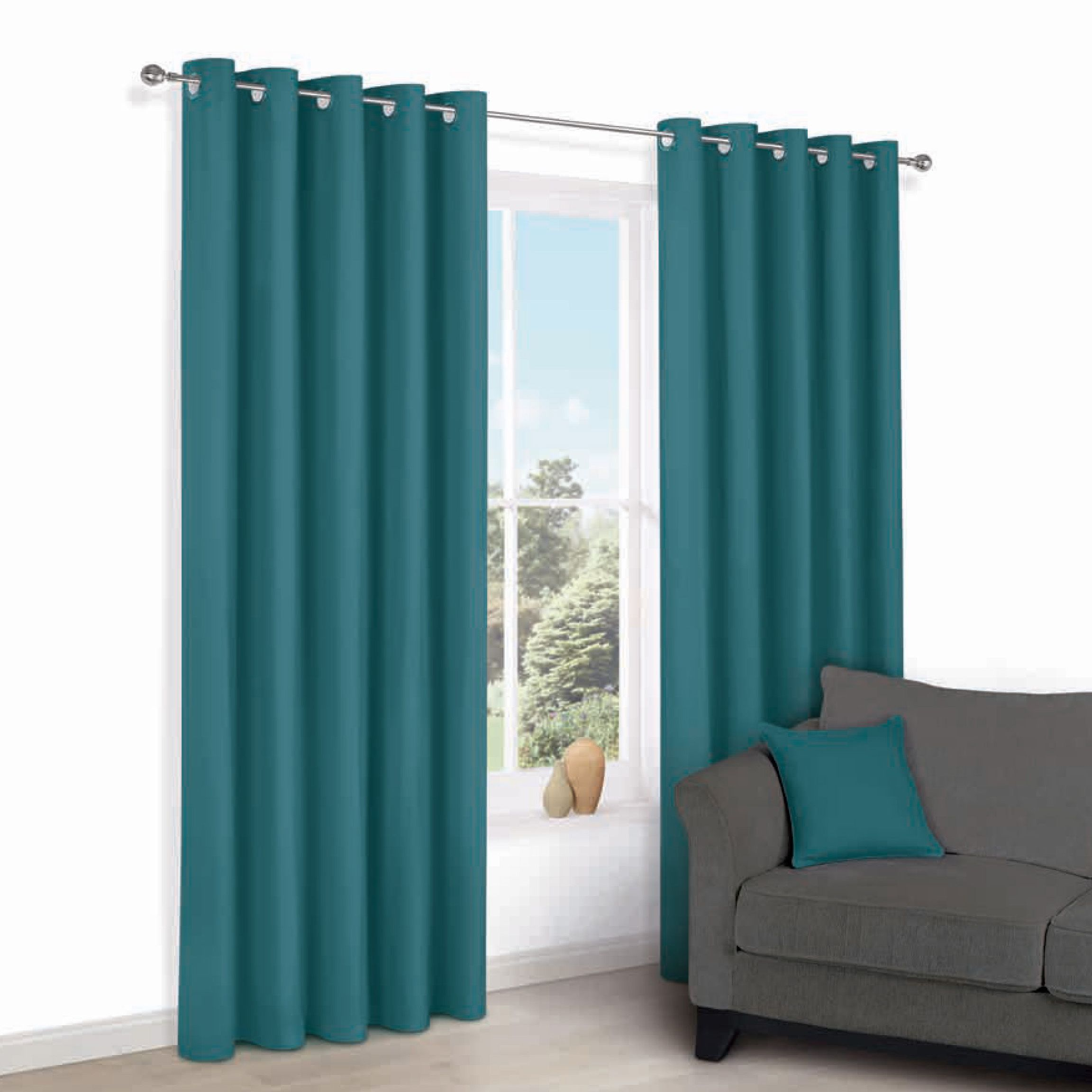 Zen Peacock Plain Eyelet Curtains (w)167cm (l)228cm