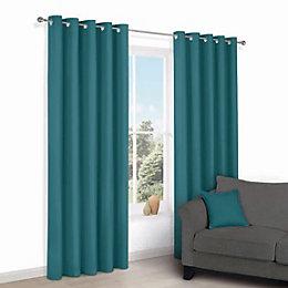 Zen Peacock Plain Eyelet Curtains (W)167cm (L)228cm