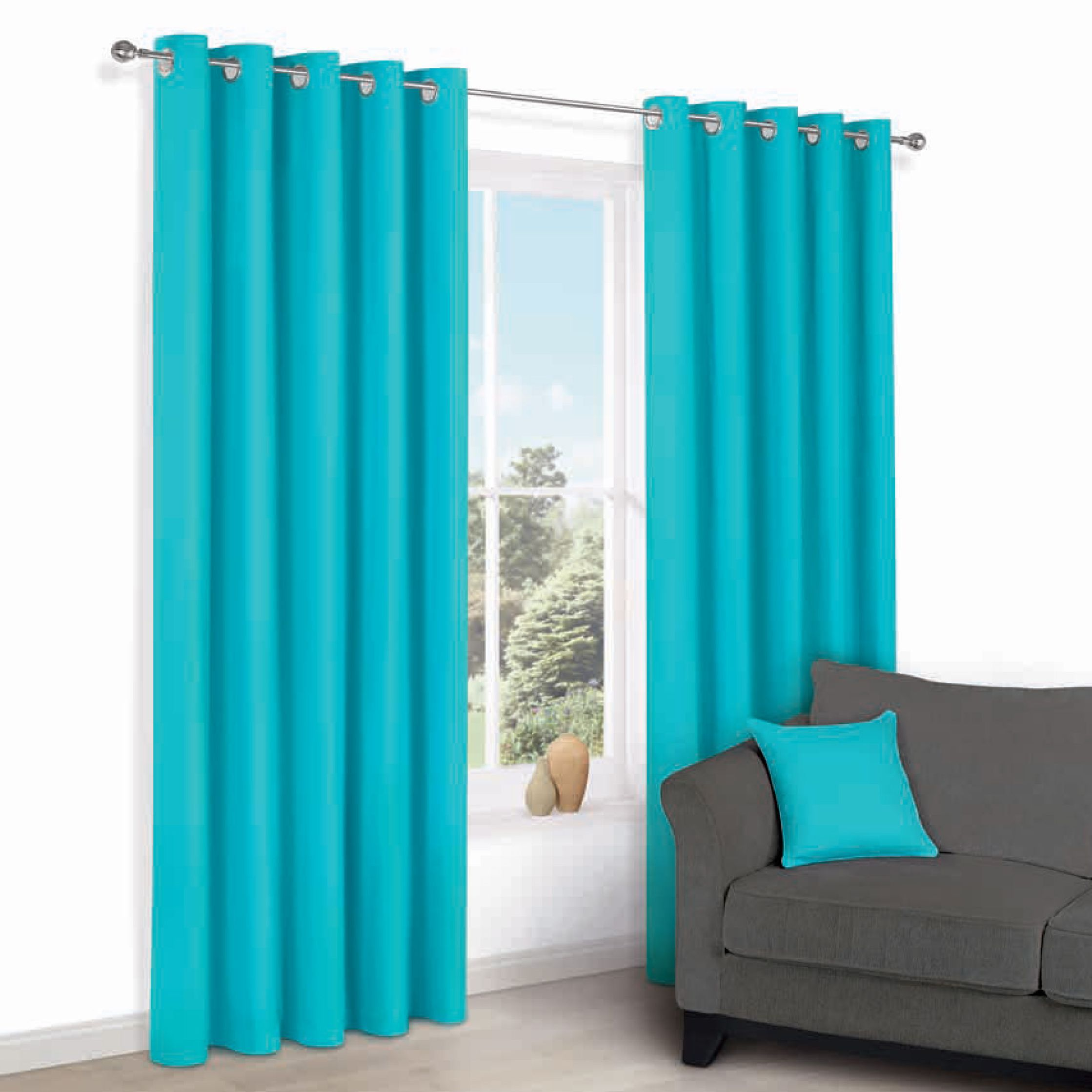 Zen Teal Plain Eyelet Curtains (w)228cm (l)228cm