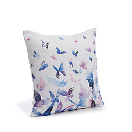 Dandra Butterflies White, Blue & Purple Cushion