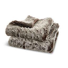 Kinsley Grey Faux Fur Throw