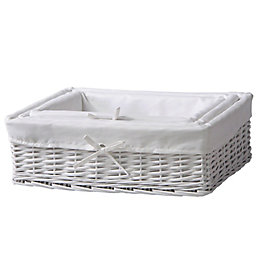 Nestable Lined White Willow Storage Baskets, Pack of