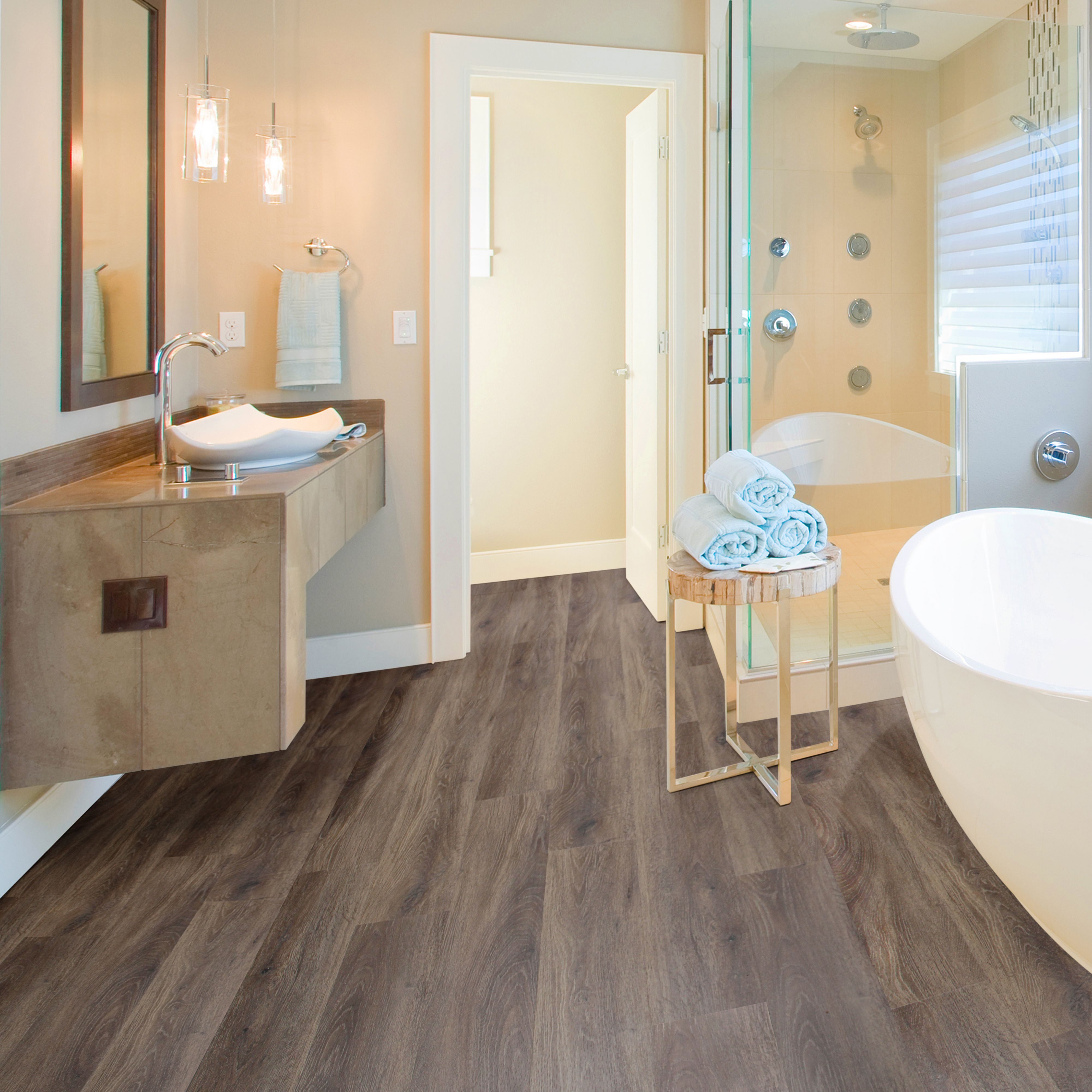 Waterproof Bathroom Wall Panels >> Brown Natural oak effect Waterproof Luxury vinyl click flooring 2.20m² Pack | Departments | DIY ...