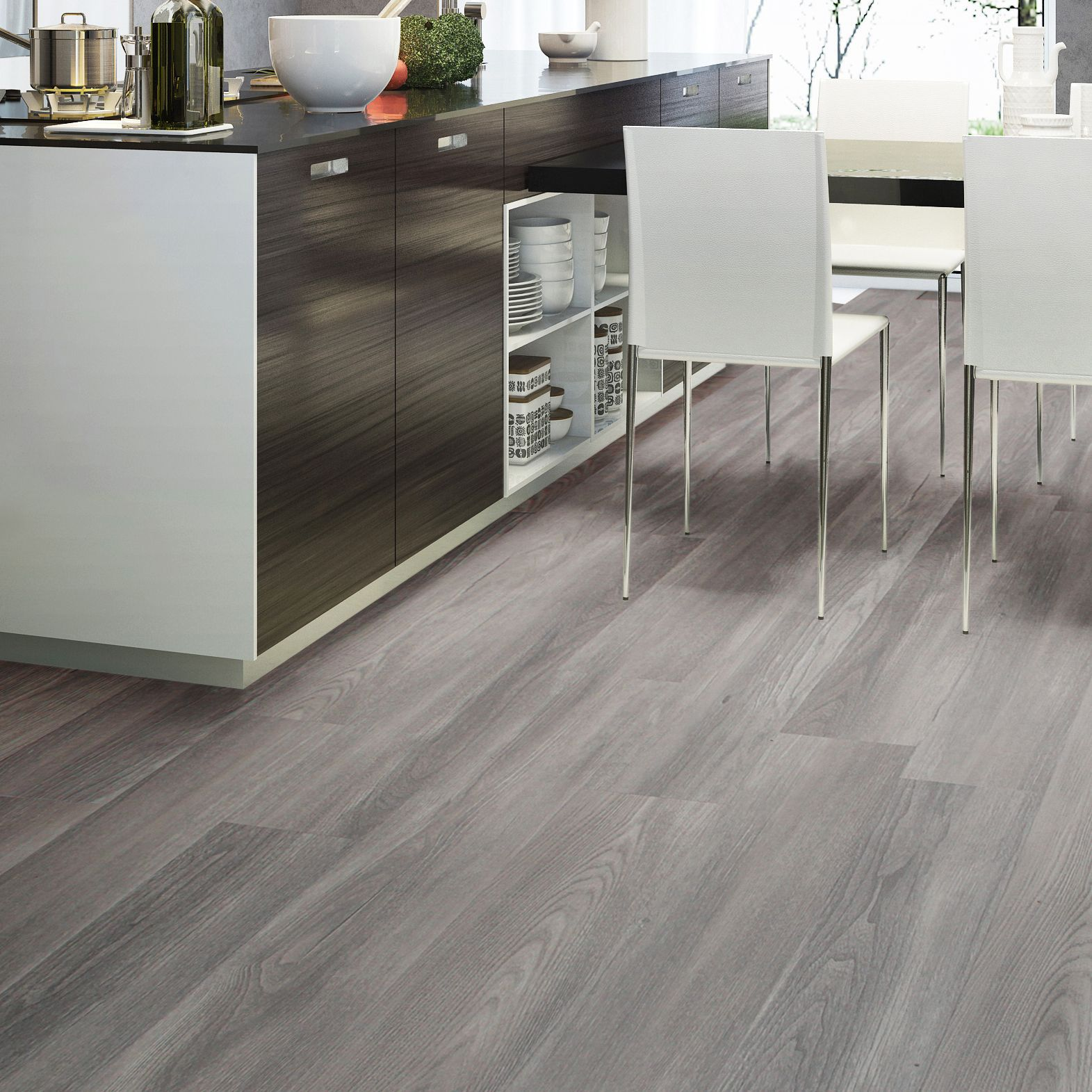 Grey Natural Oak Effect Waterproof Luxury Vinyl Click