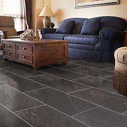 Dark Grey Natural Stone Effect Waterproof Luxury Vinyl