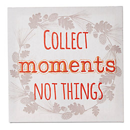Collect Moments Not Things White & Orange Canvas