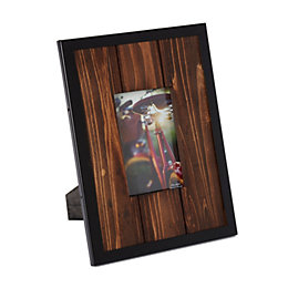 Brown Metal Edge Single Frame Wood Photo Frame