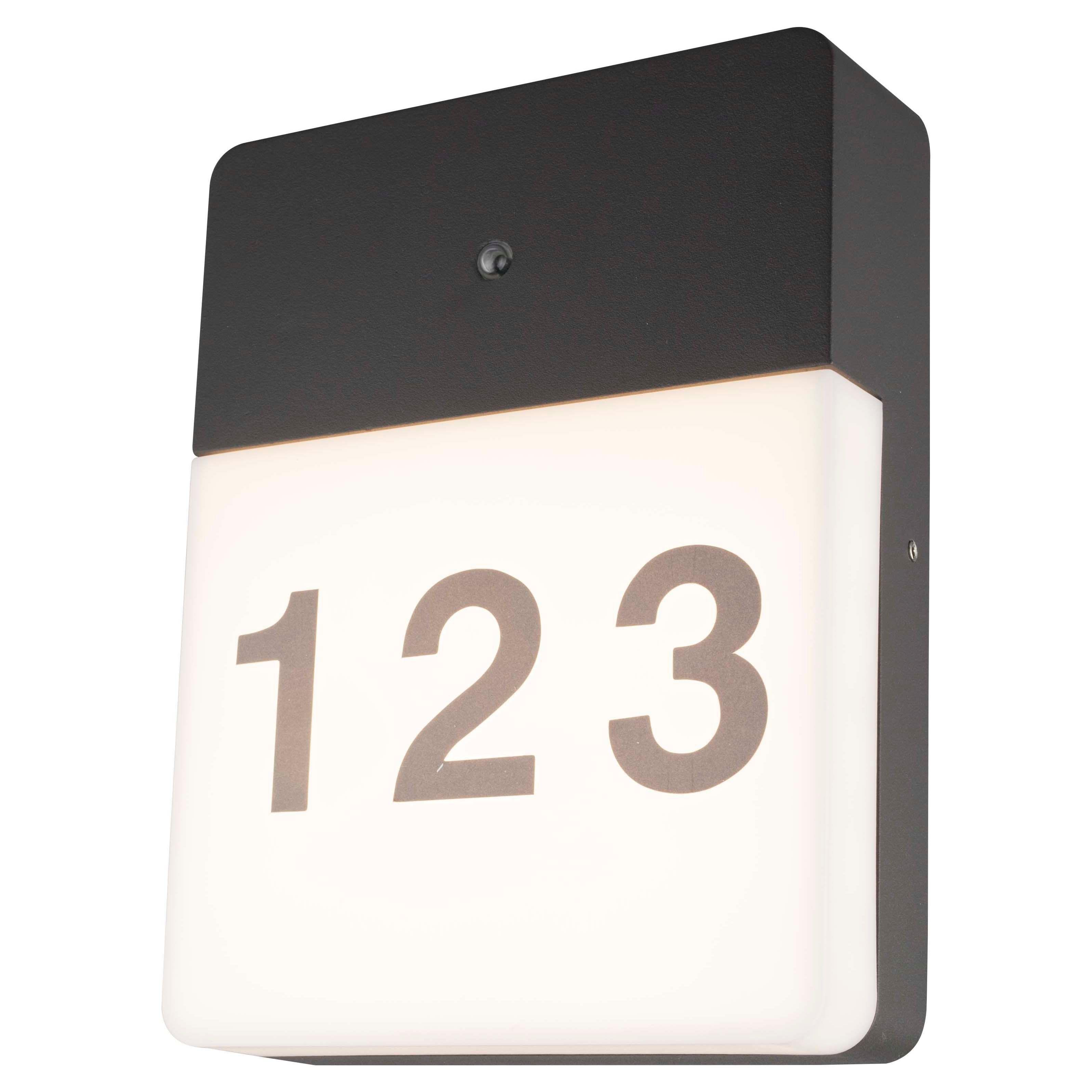 Blooma Burnet Grey Mains Powered External Door Number Wall Light