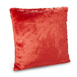 Dinah Faux Fur Red Cushion