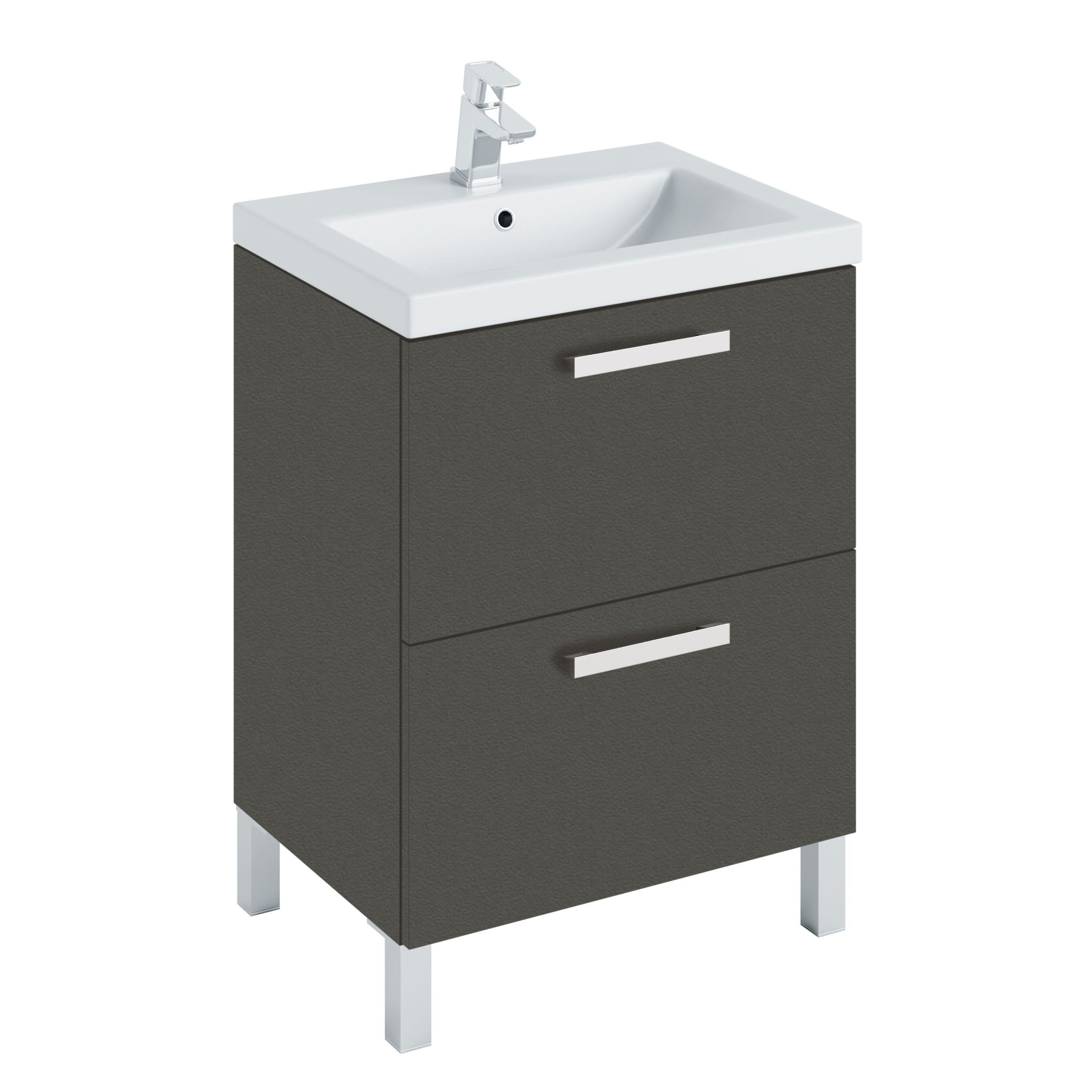 Bathroom Cabinets Uk Bq Cooke Lewis Romana Matt Grey Vanity Unit Basin Set