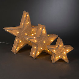 LED Hessian Star Outdoor Silhouette, Pack of 3