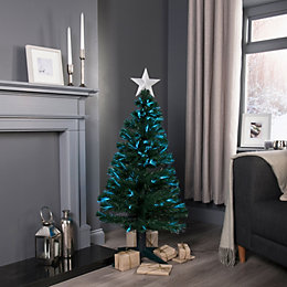 4ft Fibre Optic Rotating Pre-Lit Christmas Tree