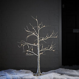 3ft Birch White Pre-Lit Christmas Tree