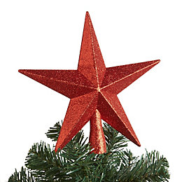 Glitter Red 3D Star Tree Topper