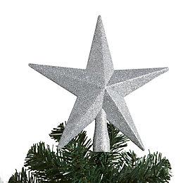 Glitter Silver 3D Star Tree Topper