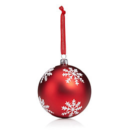 Glitter Decorated Red & White Snowflake Pattern Bauble