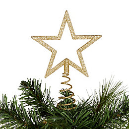 Glitter Gold Cut Out Star Tree Topper