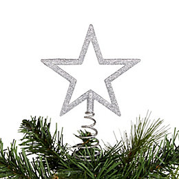Glitter Silver Cut Out Star Tree Topper