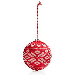 Red & White Knitted Bauble