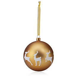 Glitter Decorated White & Gold Deer Pattern Bauble