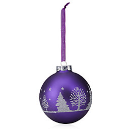 Glitter Decorated Purple & Silver Tree Pattern Bauble