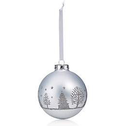 Glitter Decorated Silver & Dark Grey Tree Pattern