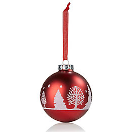 Glitter Decorated Red & White Tree Pattern Bauble